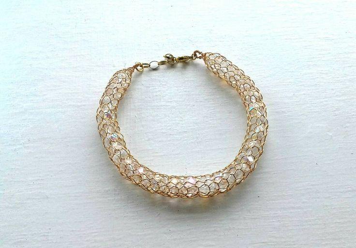 Adjustable  crystal bracelet /Handmade  bangle bracelet /Wire crochet bangle / Mesh bracelet / Silver bracelet / Gold bracelet by KvinTal on Etsy
