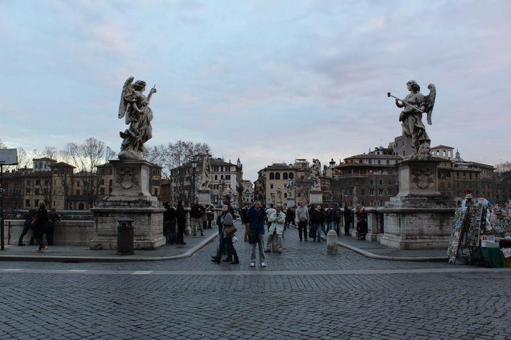 Statues near Vatican City - Rome, Italy #rome #statues #travertine #bluesky #street
