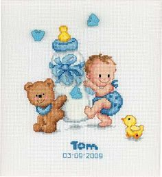 cross stitch baby announcement - Google Search