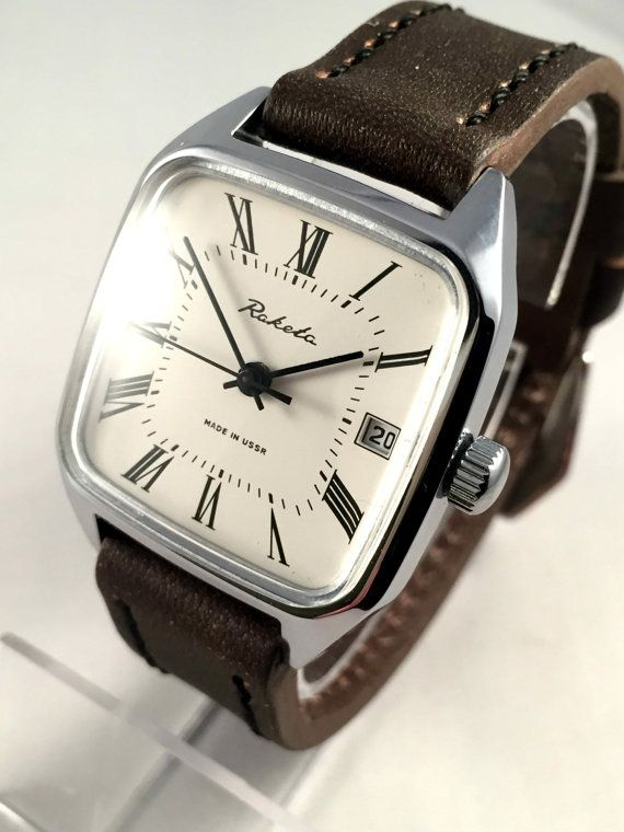 17 best ideas about vintage mens watches men s vintage men s watch rocket raketa square mechanical soviet wristwatch white dial and brand new leather band great gift for him