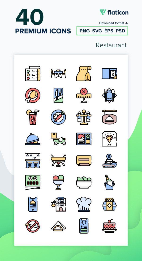40 Premium Vector Icons Of Restaurant Designed By Freepik In 2021 Restaurant Icon Vector Icons Icon Pack