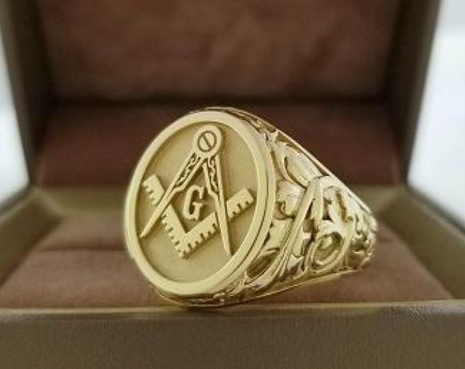 Past Master Masonic Ring With Floral Leaf Work Design Solid 10k Gold Masonic Ring Rings Hand Engraved Jewelry