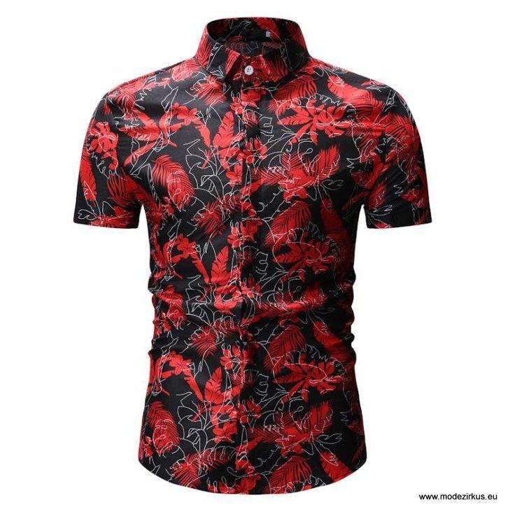 Einreier Kurzarm Herren Hemd Mit Muster Schwarz Mens Hawaiian Shirts Men Casual Casual