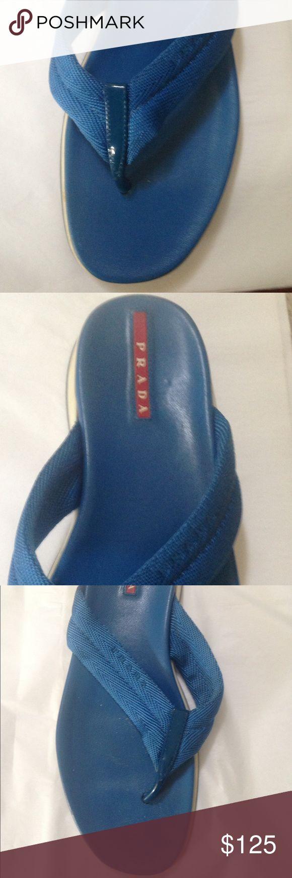 PRADA blue white flip flops sz 7.5 PRADA blue white flip flops sz 7.5 Prada Shoes Flats & Loafers