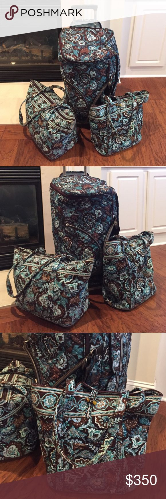 Vera Bradley luggage set Vera Bradley luggage set. Rolling duffle, zip duffle, and tote bag. Tag included, like new. Amazing set for college and high school students! Vera Bradley Bags Travel Bags