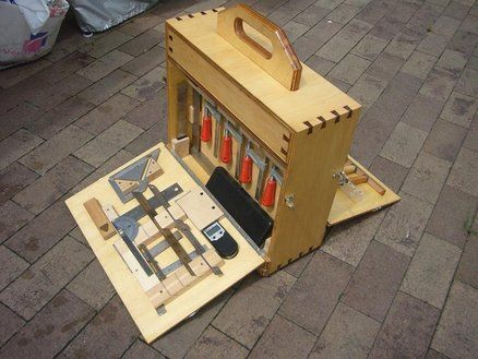 Tool Tote & Dovetail Key Jig [This could be modified using sliding panels for our Raclette storage box]