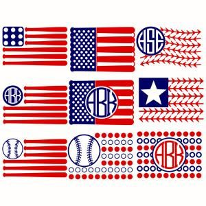 Baseball or Softball USA flag Pack with Bat, Star and Ball Patterns Monogram Round Circle Frame Cuttable Design Cut File. Vector, Clipart, Digital Scrapbooking Download, Available in JPEG, PDF, EPS, DXF and SVG. Works with Cricut, Design Space, Sure Cuts A Lot, Make the Cut!, Inkscape, CorelDraw, Adobe Illustrator, Silhouette Cameo, Brother ScanNCut and other compatible software. Perfect for MLB fan.