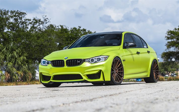 Download wallpapers BMW M3, 2018, F80, sports coupe, bright green M3, tuning M3, Velos S15 Forged Wheels