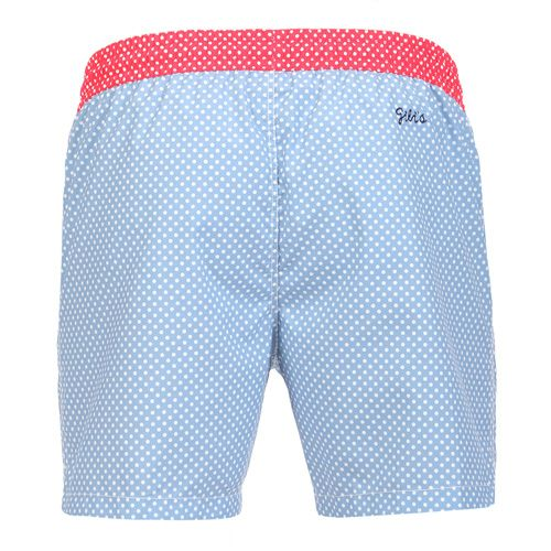 MICRO POLKA DOT PRINT BOARDSHORTS WITH ELASTIC WAISTBANDMicro Polka dot print mid-length Boardshorts with contrast elasticated waistband and adjustable drawstring. Two front pockets. Back Gili's logo embroidery. Internal net. COMPOSITION: 100% POLYESTER lining 100% POLYESTER. Model wears size L he is 189 cm tall and weighs 86 Kg.