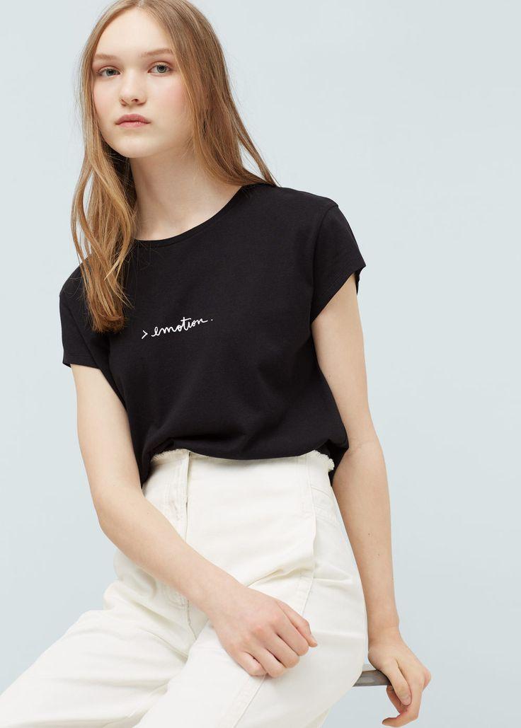 Koszulka z modalu z napisem | MANGO