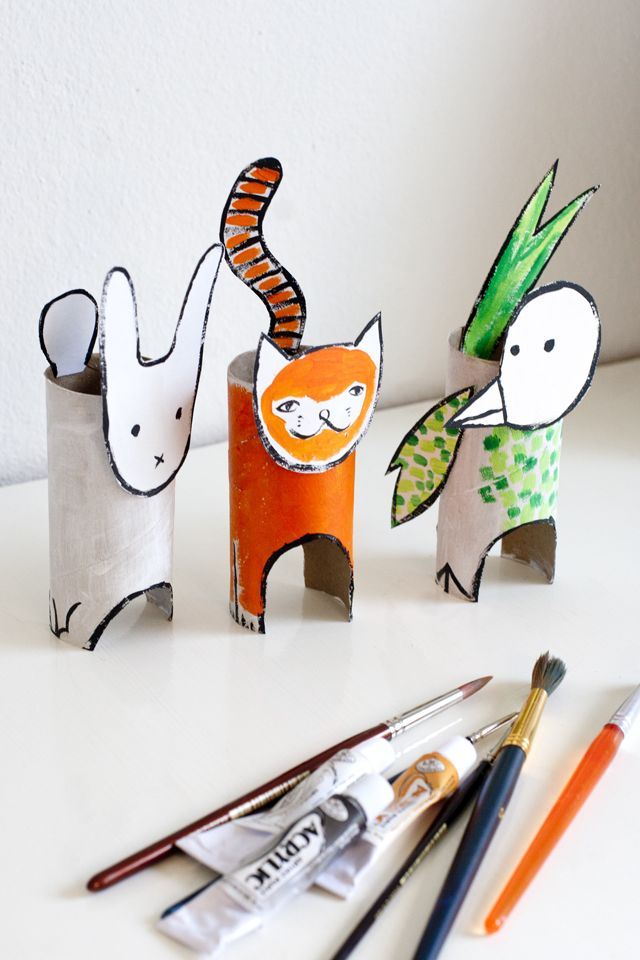 UKKONOOA: Pahvieläimet kierrätysmateriaalista / Recycled Cardboard Animals - cute kids craft to do with cardboard tubes