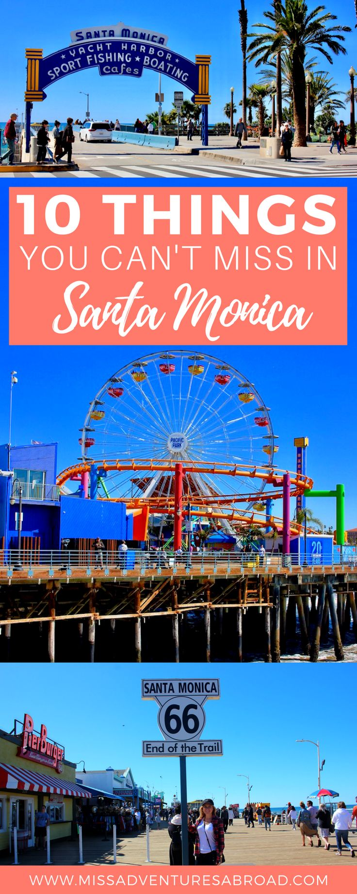10 Things You Won't Want To Miss In Santa Monica, California · Santa Monica is home to one of California's most famous piers and is definitely worth a visit if you are planning a trip to Los Angeles. Discover the top 10 things to do in Santa Monica from riding the Ferris wheel to exploring the beach and snapping pictures at the official end of the historic Route 66! You'll fall in love with this lively and colorful beach city!