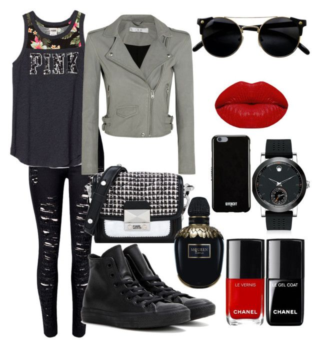 """""""Untitled #98"""" by nenglita on Polyvore featuring WithChic, IRO, Converse, Karl Lagerfeld, Winky Lux, Alexander McQueen, Movado and Givenchy"""