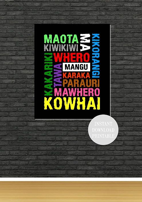 MAORI COLOURS New Zealand Printable SUBWAY Style by ColourMyRoom, $5.00