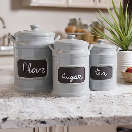 Wonderful Tall Gray Chalkboard Kitchen Canisters, Set Of 3