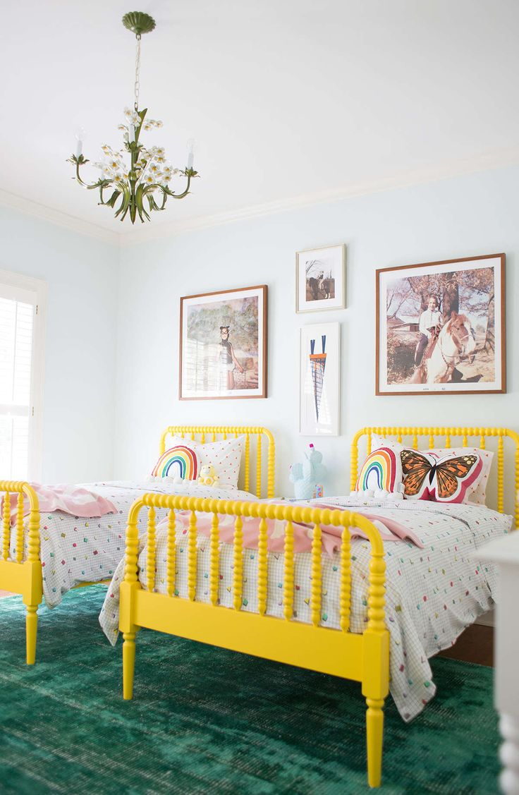 enlarge and frame your favorite old photos for some throwback decor via laybabylay - Yellow Bed Frame