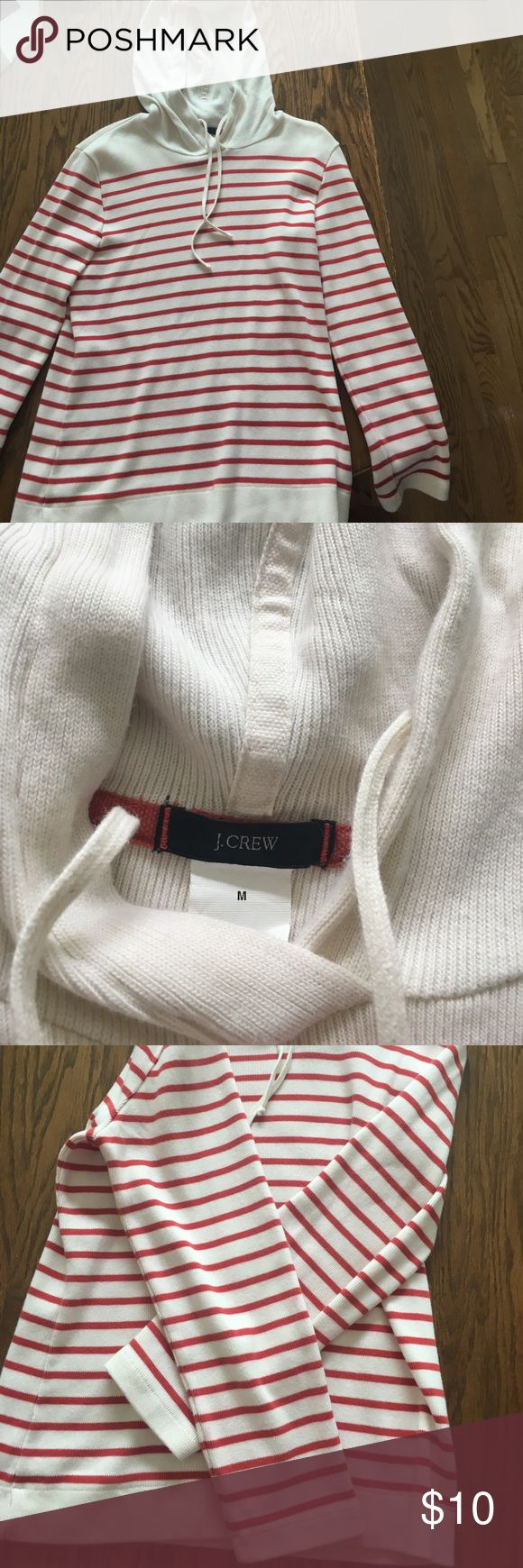 J.Crew red & cream striped hooded sweatshirt J.crew size medium red and cream hooded sweatshirt. Gently used but in very good condition. Size medium. No holes stains etc. The sleeves measure approximately 21 inches and the length from shoulder runs to bottom approximately 22 inches. Thank you for taking a look. J. Crew Tops Sweatshirts & Hoodies