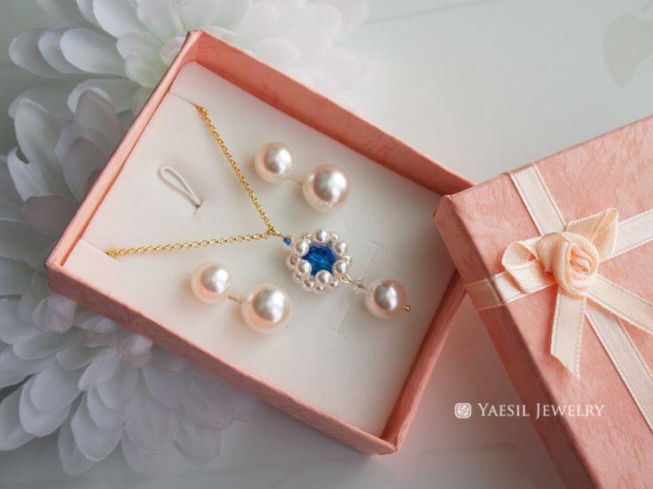 Something Blue Jewelry Set, Wedding Jewelry Set, Bridal Necklace and Earring Set, Maid of Honor Gift Set, Bridesmaid Set, Swarovski Elements by YaesilJewelry on Etsy
