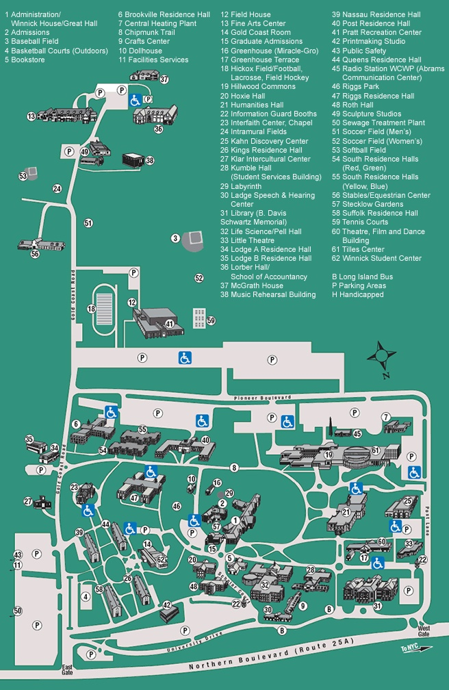 C.W. Post Campus Map | Life Around The Campus | Pinterest