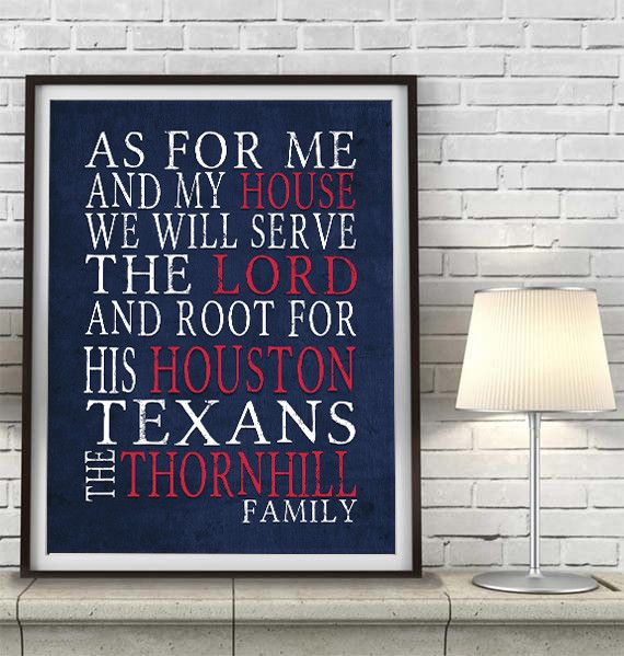 Houston Texans Personalized As For Me Art Print