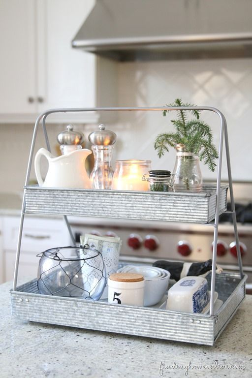 Plant stand turned kitchen organizer? Now that's a kitchen upgrade for the holidays! Give this 10 min DIY project from FindingHomeOnline.com a try.