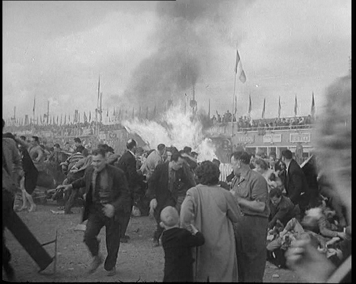 79 people die in the worst tragedy in the history of motor racing - the Le Mans Disaster of 1955: http://www.britishpathe.com/video/le-mans-disaster