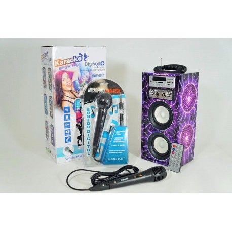 Altavoz Karaoke Bluetooth HIFI-16BT COLOR Portátil Radio FM USB SD Mando más 2 Micros