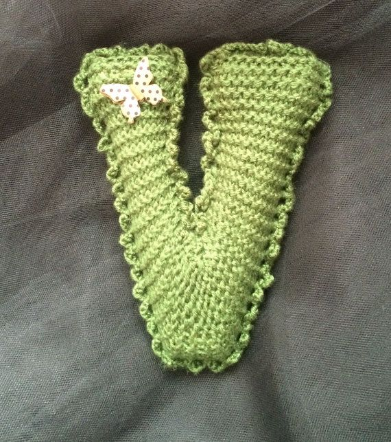 Handmade knitted letter V by MariasChicDesigns on Etsy