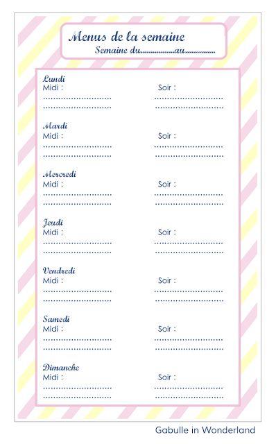 Gabulle in Wonderland: Planning pour les menus de la semaine à imprimer