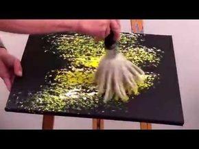 Der schnelle Monet, so entsteht ein Seerosenteich gemalt mit dem Oktopus (Pinsel) aus der Martin Thomas Sonderedition von Lineo. Ein Bild auf schwarzer Leinw...