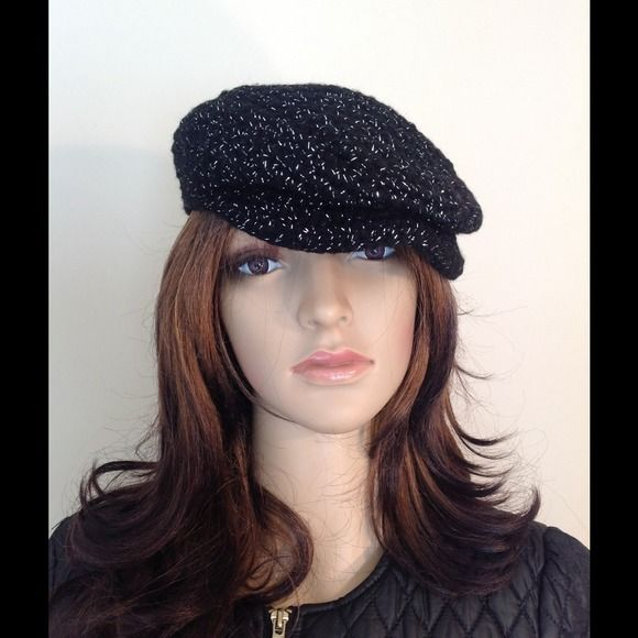 Crochet kango hat Black and silver handmade kango. Great for the holidays handmade Accessories Hats