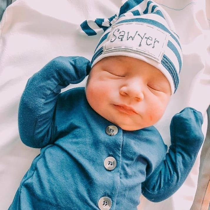 Newborn Baby Boys Gown With Hat  Custom PersonalizedHospital Coming Home Gift Set
