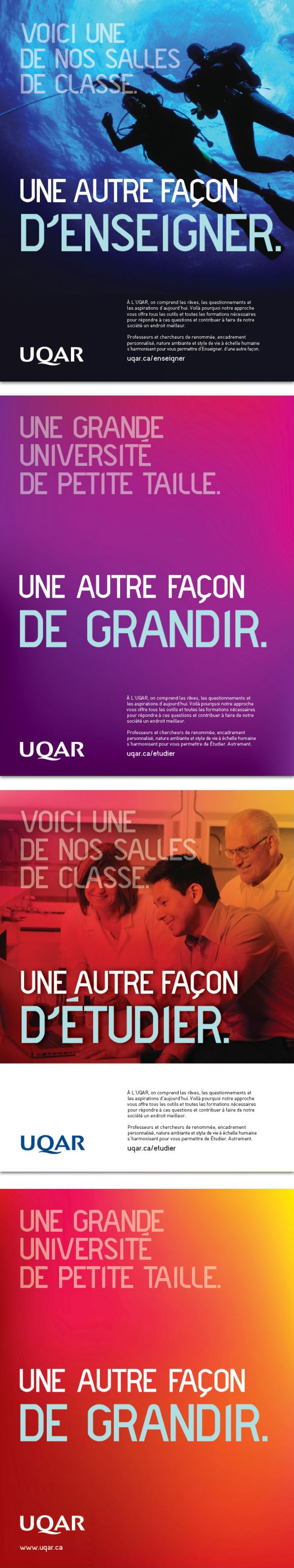 UQAR - UNIVERSITÉ DU QUÉBEC À RIMOUSKI - Création d'un nouveau positionnement, d'une approche conceptuelle, d'une plateforme visuelle ainsi que d'une série d'outils de communication