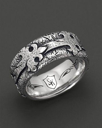 Scott Kay Men's Sterling Silver Distressed Fleur de Lis Band Ring | Bloomingdale's