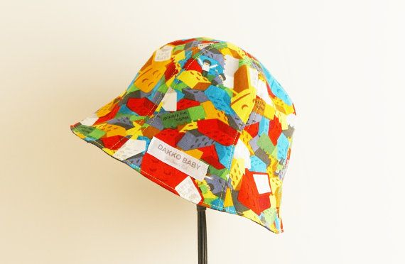 Kids sun hat, denim kids summer hat, lego print hat baby sun hat, toddler sun hat, baby boy sun hat - made to order