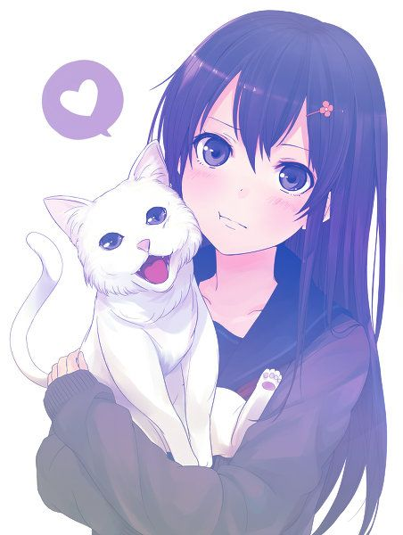 Kawaii anime girl with a kawaii neko
