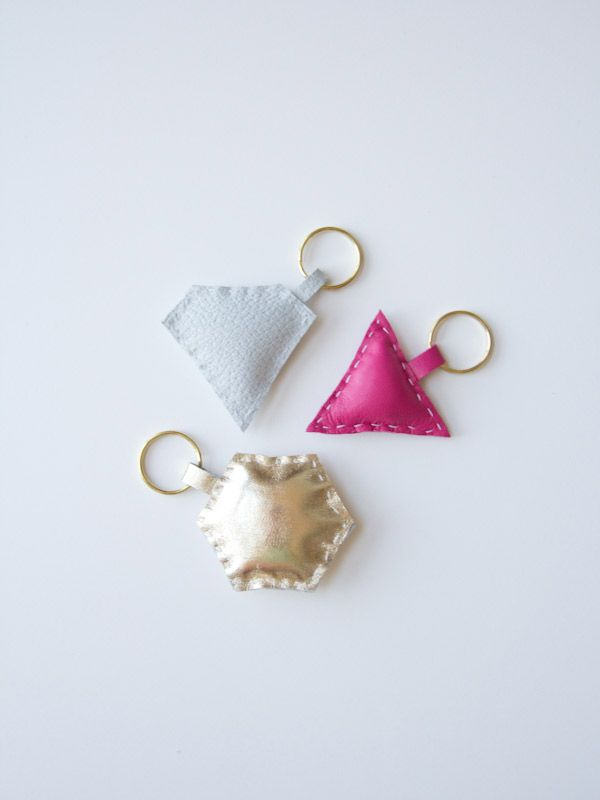 geometric leather keychain DIY