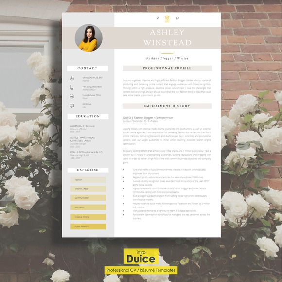 "2 Page CV Template ""Monument"" by introDuice - CV Templates on @creativemarket"