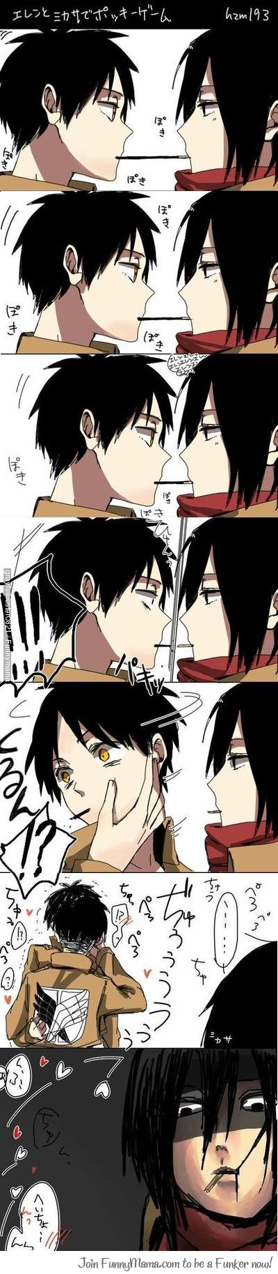 In yo face Mikasa!!no offense to the eren x mikasa shippers,but i ship eren x levi!!!!