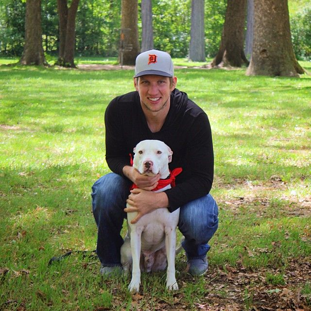 Justin Abdelkader was joined by Gibson, a two-year-old Pitbull mix, for his @drwsocialmedia pet calendar photo shoot benefiting mhumane! #IMTH #PucksforPaws *The pet calendar will be available this fall and we will post the details on this account as soon as it is available!*
