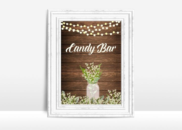 Candy Bar Sign Printable, Wedding Sign, Rustic Candy Bar Wedding Sign, Wedding Table Sign, Printable Candy Bar, Babys Breath Wedding Sign - pinned by pin4etsy.com
