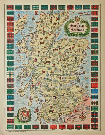 """Great Scots: This """"Story Map of Scotland"""" is one of a series of pictorial maps produced in Chicago in the 1930s. It's packed with drawings of historic sites, incidents and portraits of important Scottish men and women, including explanatory captions, and bordered with the colorful tartans of dozens of clans."""
