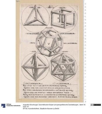 Geometrische Körper und perspektivische Darstellungen.     Folge      Augustin Hirschvogel (1503 - 1553.02, Wien), Inventor & Stecher     1549      Material: Papier, Technik: Kupferstich     Höhe x Breite: 20,7 x 18,8 (Platte) & 26,3 x 15,3 (Platte) & 27,7 x 12,8 (Platte) & 29,7 x 17,9 (Platte)      Ident.Nr. Dest. 97