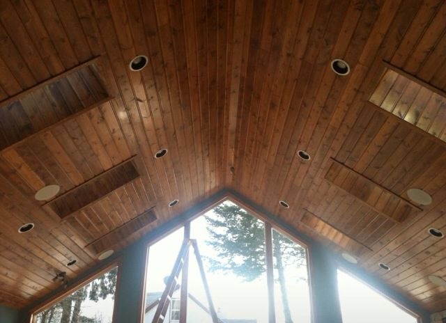 tongue & groove knotty pine ceiling we finished. | interior