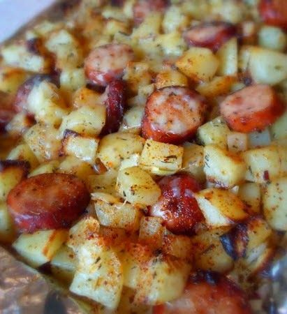 Oven Roasted Smoked Sausage and Potatoes. Made this tonight w/ turkey sausage  no cheese. Good quick dinner on a night w/ my hubby out of town. Kid approved.