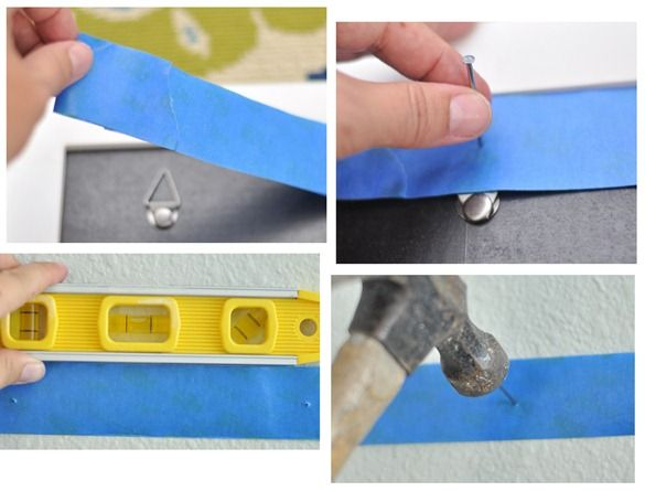trick for hanging photos, especially in a gallery wall: You simply use the painter's tape to establish the position of the nails on your wall, use a level to keep them straight and hammer the nail into the right spot.