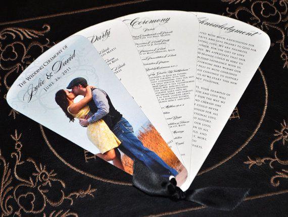 Unique wedding program and doubles as a fan! Love this idea