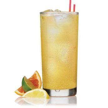 "Patrón Sangria Blanca   Patrón Silver, Patrón Citrónge, apricot brandy, pinot grigio, line, sugar, pineapple juice, club soda.   View the recipe by clicking through and going to ""Drink Maker."""