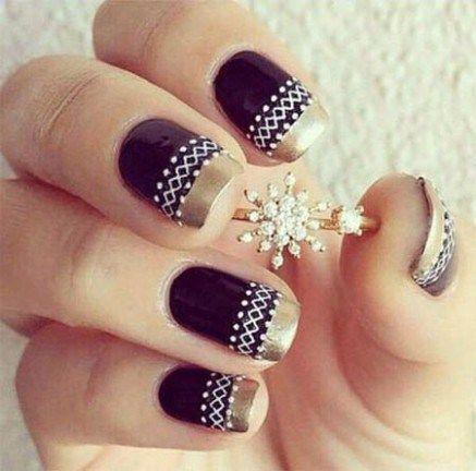 bordowe paznokce złote paski