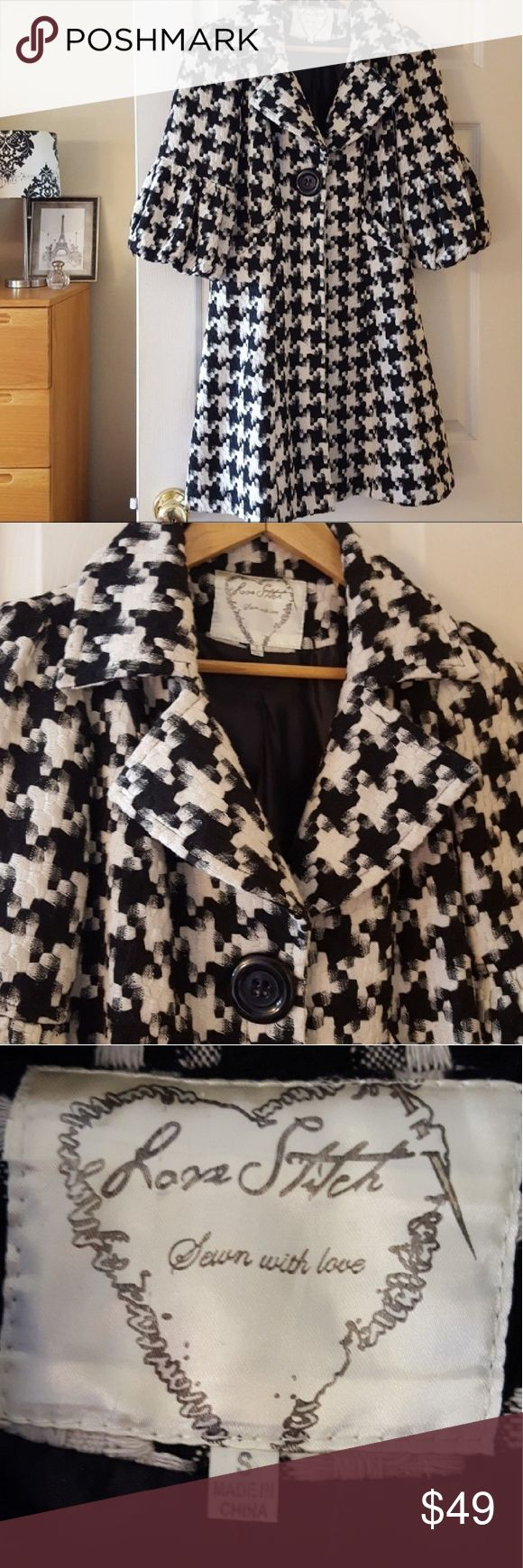 """cutest houndstooth car coat ever size S Such a classic style with adorable buttons and sleeves!  Approximate measurements lying flat:  Bust: 17"""" Length:34"""" 100% cotton Machine washes like a dream, I just hang it to dry  Smoke-free home  -Reasonable offers welcome, but prices are firm on items under $10.  -No trades, please.  -All measurements are approximate  💕💕💕Thank you for shopping my closet, it means a lot to me!💕💕💕 Lovestitch Jackets & Coats"""